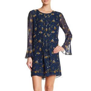 Max Studio Floral Print Pleat Crepe Shift Dress